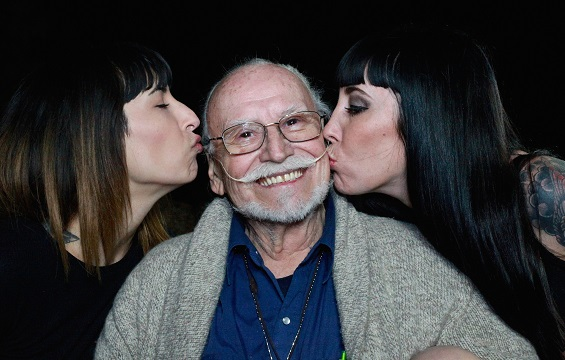 Legendary cult film producer Ted Mikels with two of his upcoming 10 Violent Women 2.